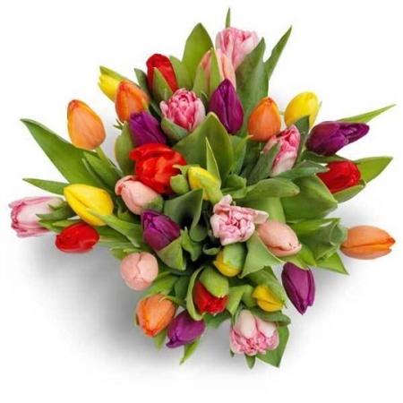 Ramo de tulipanes multicolor