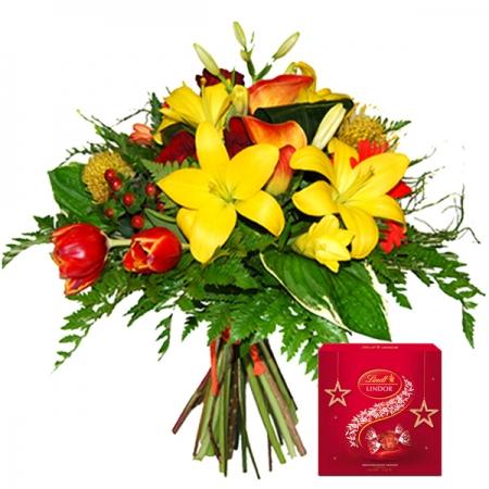 ramo de flores variadas bombones