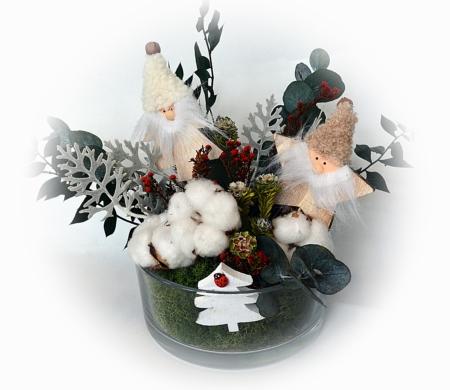 centro de mesa con duendes navideños