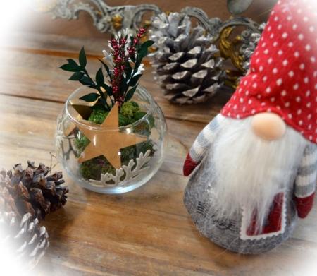 centro de mesa navidad, estrella y duende