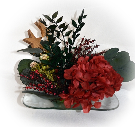 centro de mesa navideño con corales