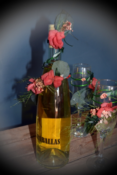 copas vino flores preservadas