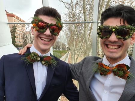 pajarita gafas flores preservadas surtido
