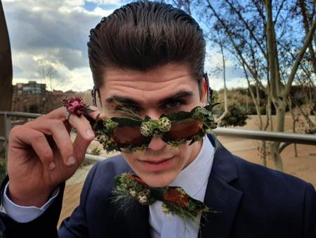 pajarita gafas flores preservadas modelo