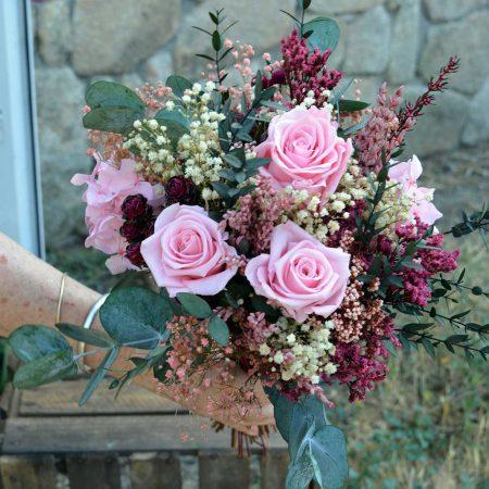 ramo de novia tonos rosas