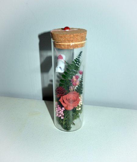 mensaje flores rosa preservada