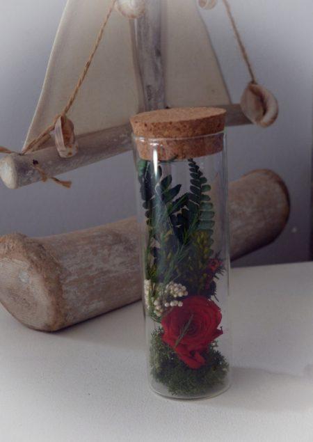 mensaje rosas preservada roja